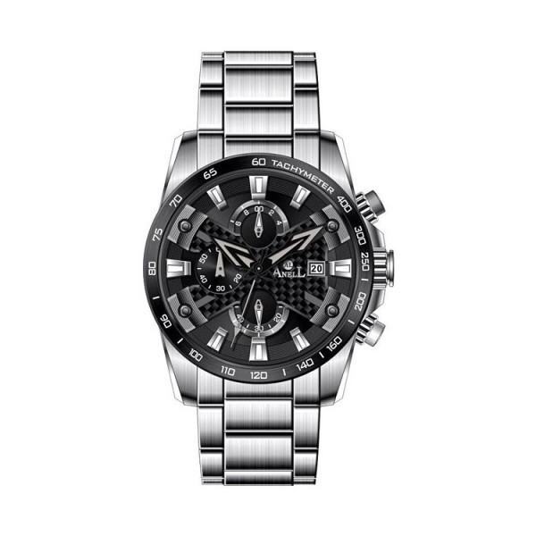 Ρολόι Anell 1R31GB_VE Χρονογράφος Μαύρος Μπρασελέ