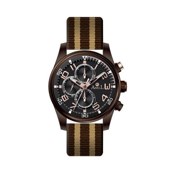 Ρολόι Anell 1R72G_VA Πολλαπλών Ενδείξεων Καφέ Ναύλον Δερμάτινο Λουρί Μπέζ Ρίγες