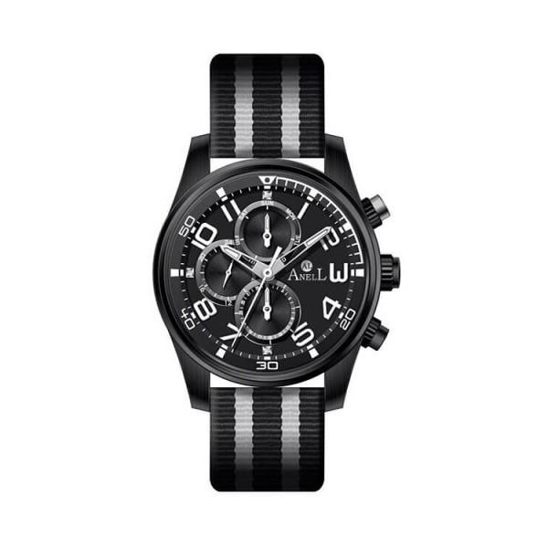 Ρολόι Anell 1R72G_VB Πολλαπλών Ενδείξεων Μαύρο Ναύλον Δερμάτινο Λουρί Γκρί Ρίγες