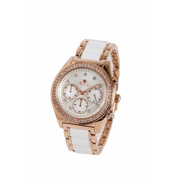 Ρολόι Anell 1T82FB_VB Χρονογράφος Ροζ Χρυσό Λευκό Μπρασελέ