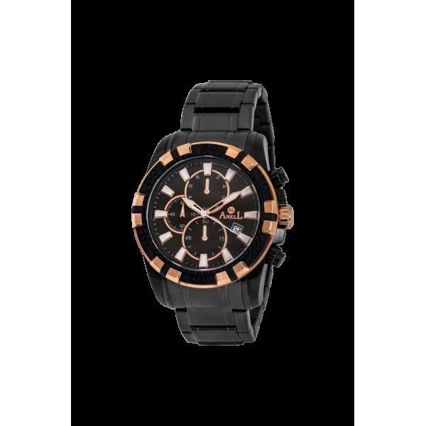 Ρολόι Anell 1T97GB_VB Χρονογράφος Μαύρος Μπρασελέ