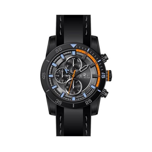 Ρολόι Anell 1UO5G_VA Πολλαπλών Ενδείξεων Πορτοκαλί Μαύρο Καουτσούκ Λουράκι
