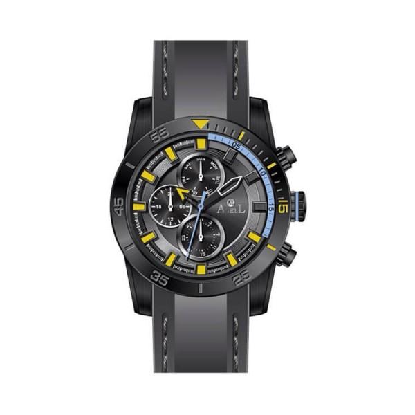 Ρολόι Anell 1UO5G_VB Πολλαπλών Ενδείξεων Γκρί Καουτσούκ Λουράκι