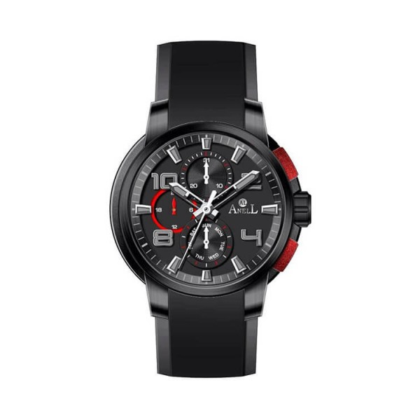 Ρολόι Anell 1W88G_VA Πολλαπλών Ενδείξεων Κόκκινο Καουτσούκ Λουράκι