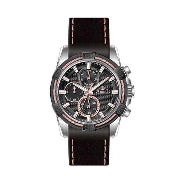 Ρολόι Anell 1X03G_VB Πολλαπλών Ενδείξεων Μαύρο Δερμάτινο Λουρί