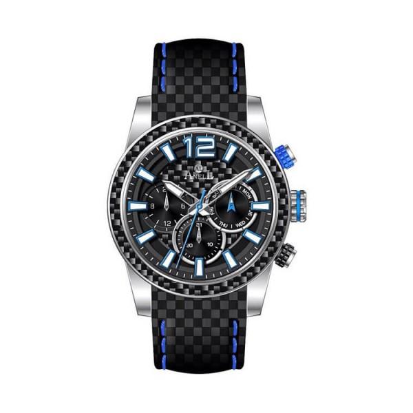 Ρολόι Anell 1W91G_VA Πολλαπλών Ενδείξεων Μπλέ Ναύλον Δερμάτινο Λουρί