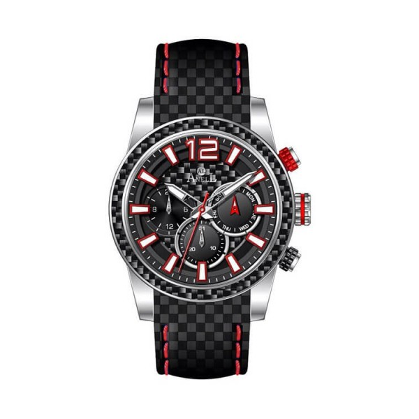 Ρολόι Anell 1W91G_VD Πολλαπλών Ενδείξεων Ναύλον Δερμάτινο Λουρί