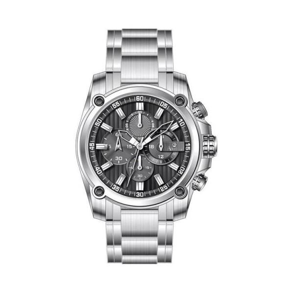 Ρολόι Anell 1X02GB_VA Χρονογράφος Μαύρο Ρίγες Μπρασελέ