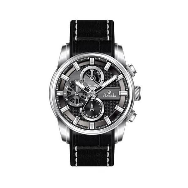 Ρολόι Anell 1X05G_VA Πολλαπλών Ενδείξεων Μαύρο Δερμάτινο Λουρί