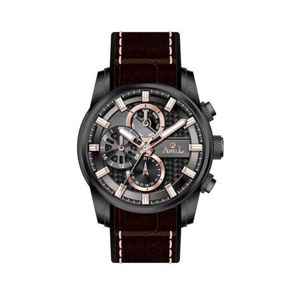Ρολόι Anell 1X05G_VB Πολλαπλών Ενδείξεων Καφέ Δερμάτινο Λουρί