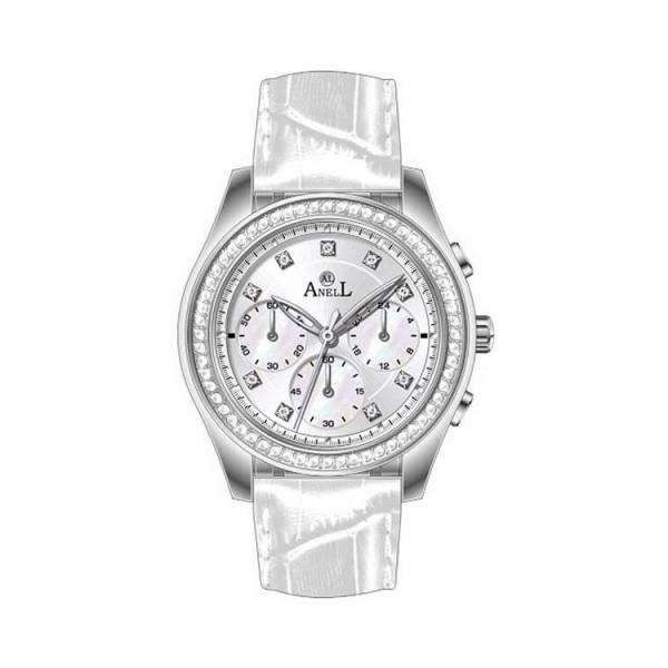 Ρολόι Anell 1T82F_VA Χρονογράφος Ασημί Δερμάτινο Λουράκι