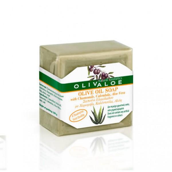 Σαπούνι Ελαιόλαδου OliveALOE 00198 με Χαμομήλι, Καλέντουλα, Αλόη