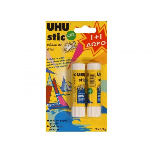 Κόλλα UHU Stick Magic 8.2gr 1 + 1 Δώρο 0687343